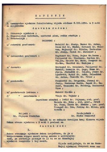 1. izvanredna sjednica 1953.-1954.