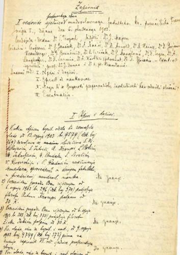 1. redovna sjednica 1903.