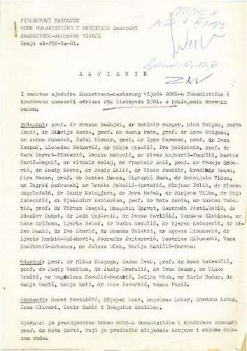 1. redovna sjednica OOUR-a Humanističke i društvene znanosti 1981.-1982.