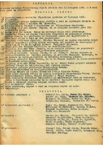 1. redovna sjednica 1951.-1952.
