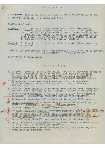 14. redovna sjednica Odjela za pedagogiju 1978.-1979.