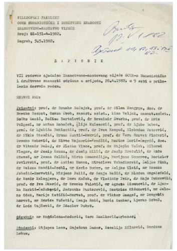 7. redovna sjednica OOUR-a Humanističke i društvene znanosti 1981.-1982.