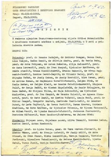 10. redovna sjednica OOUR-a Humanističke i društvene znanosti 1981.-1982.