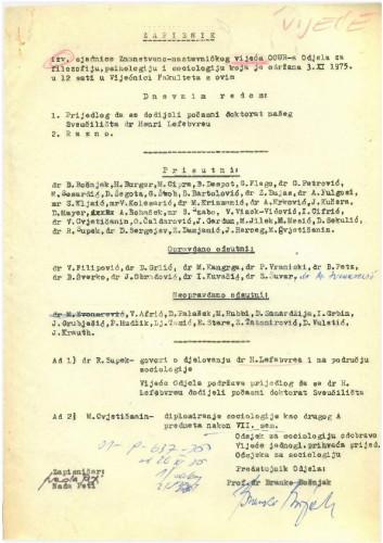 1. izvanredna sjednica OOUR-a 1975.-1976.