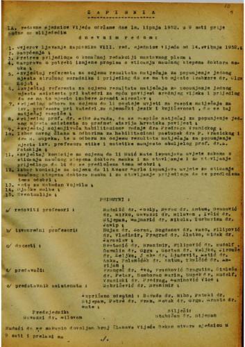 9. redovna sjednica 1951.-1952.