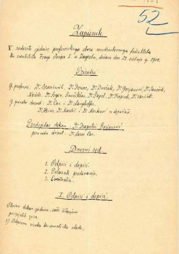 5. redovna sjednica 1901.