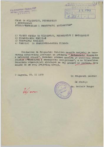Molba Odjela za filozofiju, psihologiju i sociologiju 1977.-1978.