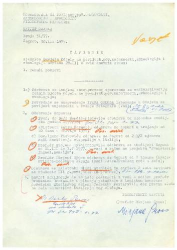 Sjednica Savjeta Odjela za povijest 1976.-1977.