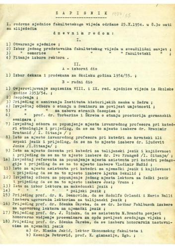 1. redovna sjednica 1954.-1955.