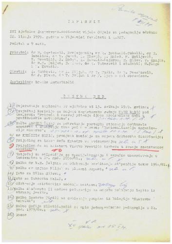 16. redovna sjednica Odjela za pedagogiju 1978.-1979.