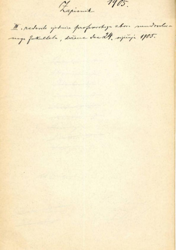 3. redovna sjednica 1905.