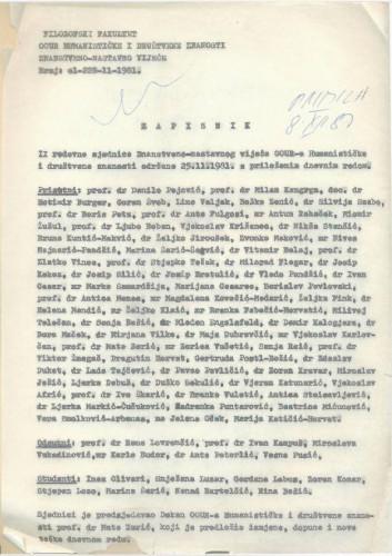 2. redovna sjednica OOUR-a Humanističke i društvene znanosti 1981.-1982.