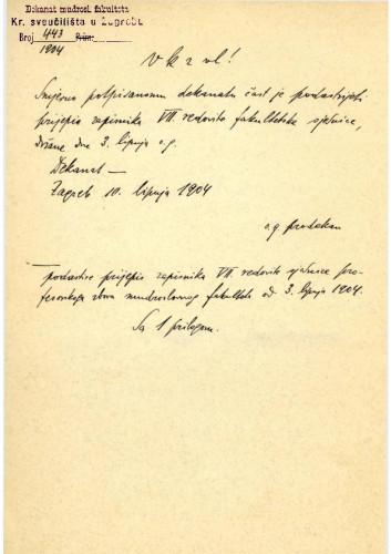 7. redovna sjednica 1904.
