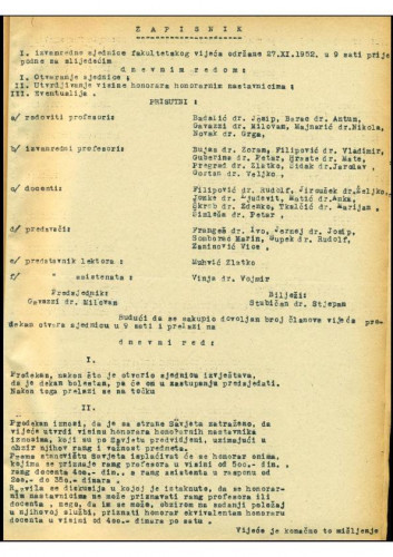 1. izvanredna sjednica 1952.-1953.