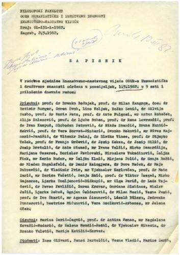 5. redovna sjednica OOUR-a Humanističke i društvene znanosti 1981.-1982.