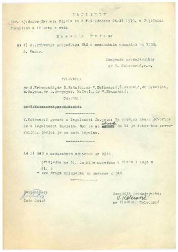 1. izvanredna sjednica Savjeta Odjela za filozofiju, psihologiju i sociologiju 1979.-1980.
