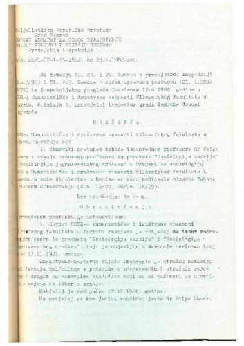 Rješenje OOUR 1981.-1982.