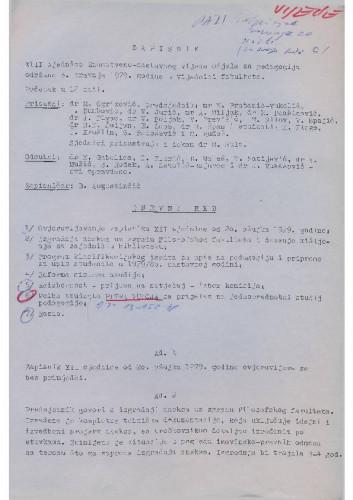 13. redovna sjednica Odjela za pedagogiju 1978.-1979.