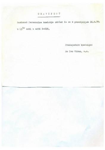 Obavijest 1977.-1978.