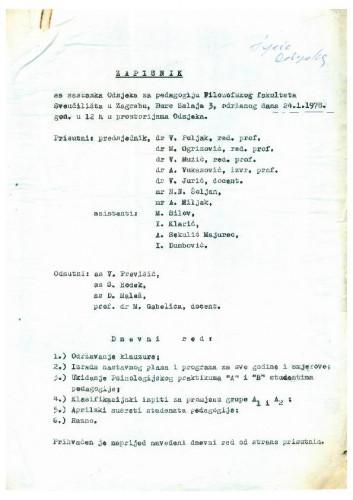 Sastanak Odjela za pedagogiju 1977.-1978.
