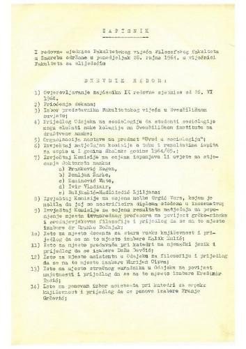 1. redovna sjednica 1964.-1965.