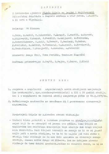 1. izvanredna sjednica Odjela za jezike i književnosti 1978.-1979.
