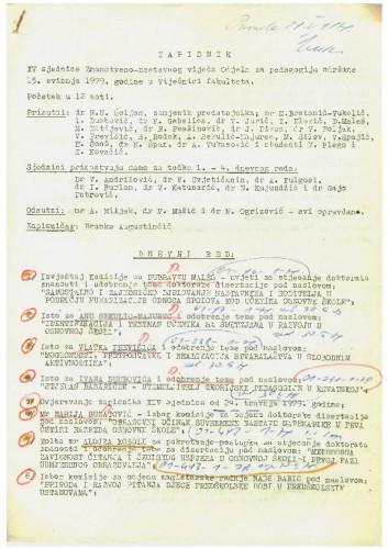 15. redovna sjednica Odjela za pedagogiju 1978.-1979.
