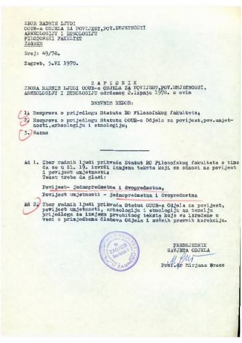 Zbor radnih ljudi Odjela za povijest 1977.-1978.