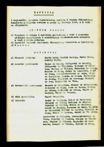 1. ad hoc sjednica 1963.-1964.