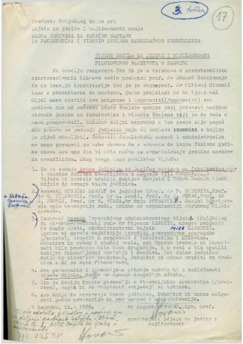 Prijedlog Odjela za jezike i književnosti 1977.-1978.