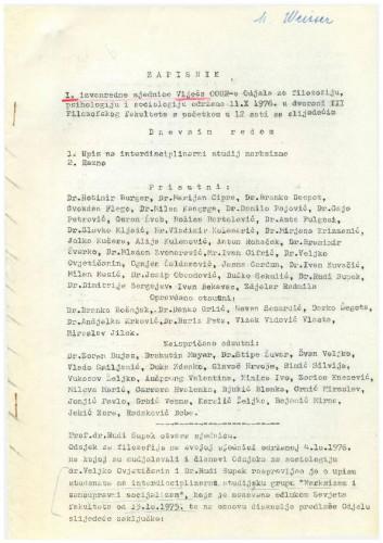 1. izvanredna sjednica OOUR-a 1976.-1977.