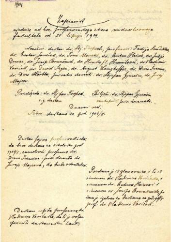 1. ad hoc sjednica 1904.