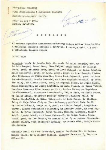 6. redovna sjednica OOUR-a Humanističke i društvene znanosti 1981.-1982.